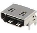 Konektor HDMI zásuvka 19 PIN povrch gold flash úhlové 90°