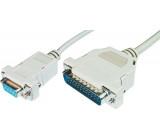 Kabel D-Sub 25pin vidlice - D-Sub 9pin zásuvka 2m