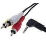 Kabel Jack 3,5mm 4pin vidlice - 3xRCA vidlice 2,5m