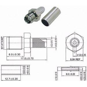 SMA zdířka na koax 3mm(RG174,188,316/U) lisovací DOPRODEJ