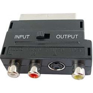 Redukce SCART kon.IN+OUT/3x CINCH+S VHS zdířky