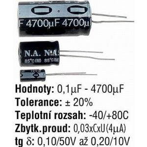 100u/50V elektrolyt.kond.radiál.8x12x3,5 LEAGUER