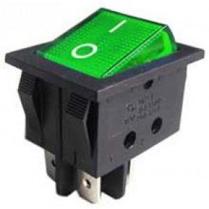 Vypínač kolébkový ON-OFF 2pol.250V/15A zelený