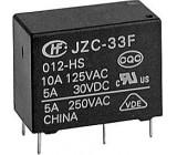 Relé JZC-33F1C 12V 250VAC/5A(30VDC/10A) 21x11x16mm