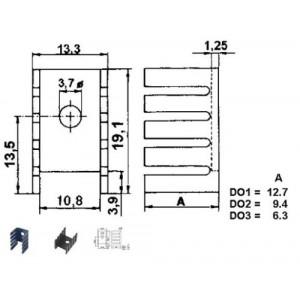 Chladič 13x19x13 (TO220) černý elox. 21K/W DO1A
