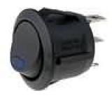 Kolébkový spínač kulatý 1x spín. ON-OFF 6A LED modrá