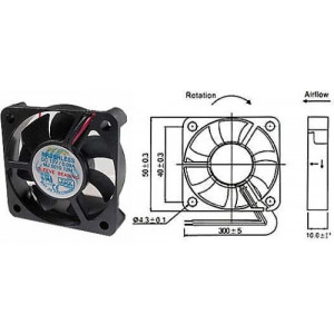Ventilátor 50x50x10mm 12V/0,09A 5000 ot/min