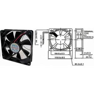 Ventilátor 120x120x25mm 12V/0,28A 2300 ot/min