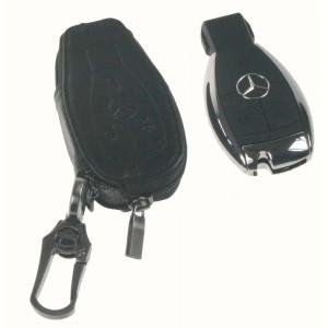 Kožený obal se zipem černý pro klíč Mercedes-Benz, 3-tlačítkový (48MC102)