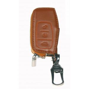 Kožený obal se zipem hnědý pro klíč Ford (48FO102)