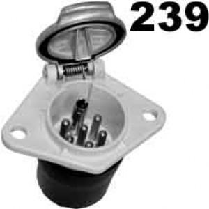 zásuvka 24V 7P přídavná hliník JAEGER (bílá) připojení na dutinky 6,3mm