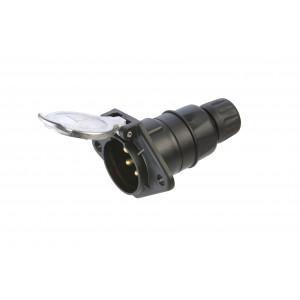 zásuvka 24V 7P hliník JAEGER+průchodka pro kabel (černá)