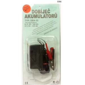 dobíječ akumulátorů 6V 12V se svorkami