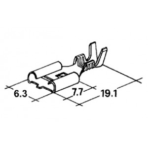 konektor 6,3mm 0,5-1mm dutinka zajištěná