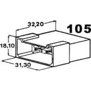 izolační kryt konektorů pro 6ks kolíků 6,3mm