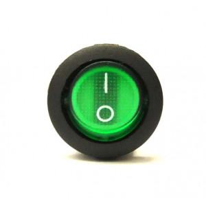 Přepínač podsvětlený kulatý 21mm zelený