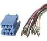 Zástrčka Mini ISO 8 PIN modrá, součástí sady jsou vodiče s piny