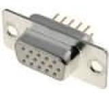 Zásuvka D-Sub HD 15 PIN zásuvka přímý THT zlacený