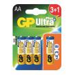 Alkalická baterie GP Ultra Plus LR6 (AA), 3+1 ks v blistru
