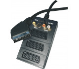 SCART kabel SCART vidlice - 3 SCART zásuvka + 3 RCA zásuvka + SVHS zásuvka délka 0,5m