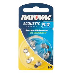 Baterie do naslouchadel RAYOVAC H10MF, 6 ks v blistru