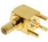 Zásuvka SMB vidlice úhlové 90° 50Ω THT teflon zlacený 0,3dB