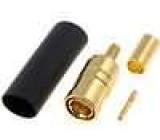 Zástrčka SMB zásuvka přímý 50Ω krimpovací na kabel teflon