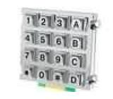 Kovová klávesnice 16 tlačítek 76x70mm číselná vodotěsná