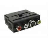 SCART redukce, SCART konektor - S-VIDEO zdířka + 3x CINCH zdířka, přepínatelná, sáček