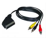 SCART kabel, SCART konektor - 3x CINCH konektor, přepínatelný, 1m, sáček