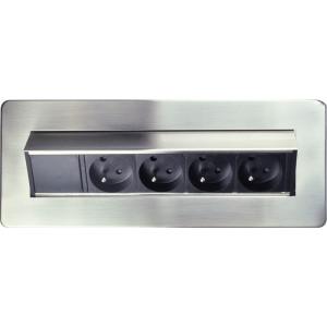 výklopný blok zásuvek, 4 zásuvky,  nerez + chrom, obdélníkový tvar, prodlužovací přívod 1,5m, 3 x 1mm2, stříbrný