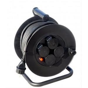 Prodlužovací přívod na bubnu, venkovní, 4 zásuvky, černý, 20m