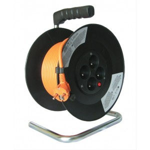 Prodlužovací přívod na bubnu, 4 zásuvky, oranžový kabel, černý buben, 35m