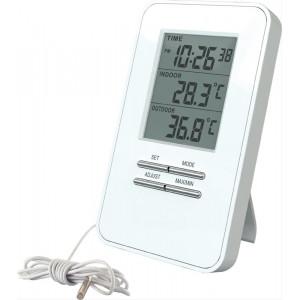 Teploměr, teplota, velký displej, datum, čas, bílý