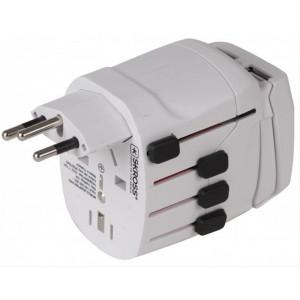 SKROSS cestovní adaptér SKROSS World Pro USB, 10A max., uzemněný, vč. USB nabíjení 2x výstup 2100mA,univerzální pro celý svět