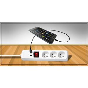 Prodlužovací přívod, 3 zásuvky, 2x USB výstup, bílý, vypínač, 3m