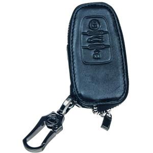 Kožený obal se zipem černý pro klíč Audi, 3-tlačítkový (48AU106)