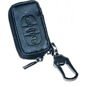 Kožený obal se zipem černý pro klíč Peugeot, Citroën, 3-tlačítkový (48PG104)