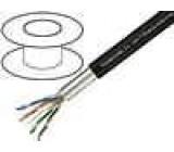 Kabel F/UTP 5e pro ukládání do země, externí drát Cu PE černá