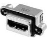 Konektor HDMI zásuvka PIN:19 Povrch zlacený úhlové 90° THT