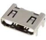 Konektor mini HDMI zásuvka s naváděcím kolíkem PIN:19 úhlový