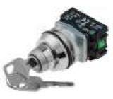 Přepínač otočný s klíčem 2 polohy NC + NO 30mm stříbrná IP56