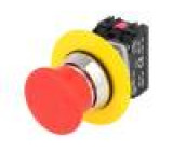 Přepínač nouzové zastavení 2 polohy NC + NO 30mm červená