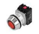 Přepínač tlačítkový 1-polohové NC + NO 30mm červená IP66