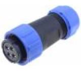 Konektor kulatý zástrčka SP21 zásuvka PIN:4 IP68 500V pájení