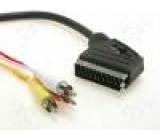 Kabel RCA vidlice x3,SCART vidlice 3m
