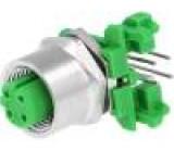 Konektor M12 zásuvka PIN:4 úhlové 90° kód D-Ethernet zásuvka