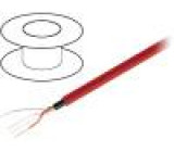 Kabel reproduktorový 1x2x0,22mm2 licna OFC červená PE 100m