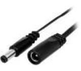 DC.INV.0200.0200 Kabel DC 5,5/2,1 zástrčka, DC 5,5/2,1 zásuvka 9,5mm přímý 2m