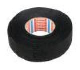 Textilní páska PET fleece 25mm L:15m černá